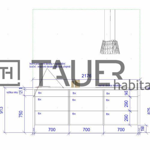 Technický výkres kuchyně od TAUER habitat 12