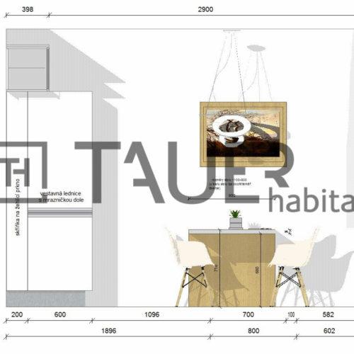 Technický výkres jídelny od TAUER habitat 70